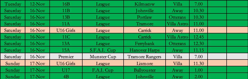 Villa FC Fixtures
